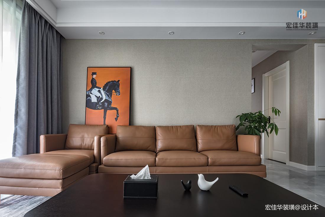 悠雅110平现代三居客厅布置图