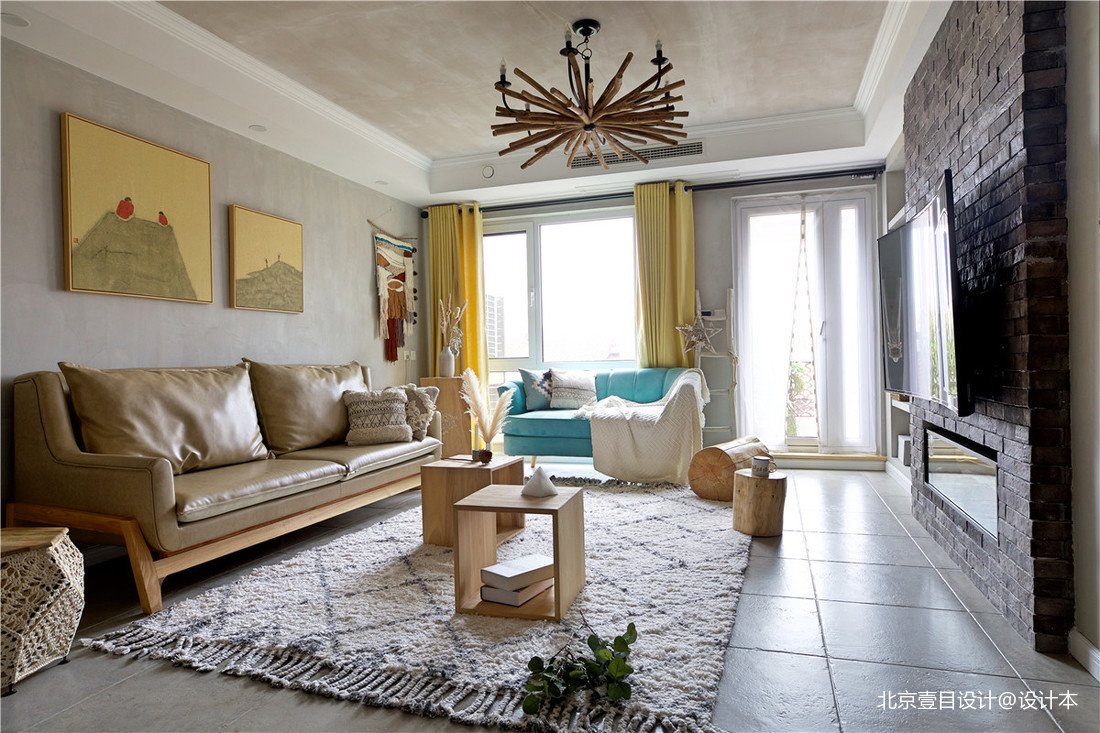 质朴90平北欧三居客厅效果图片大全