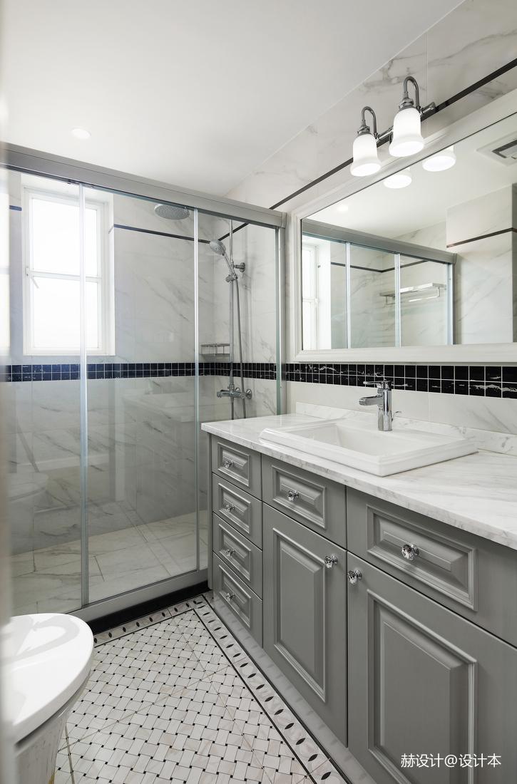 典雅74平美式三居卫生间实拍图