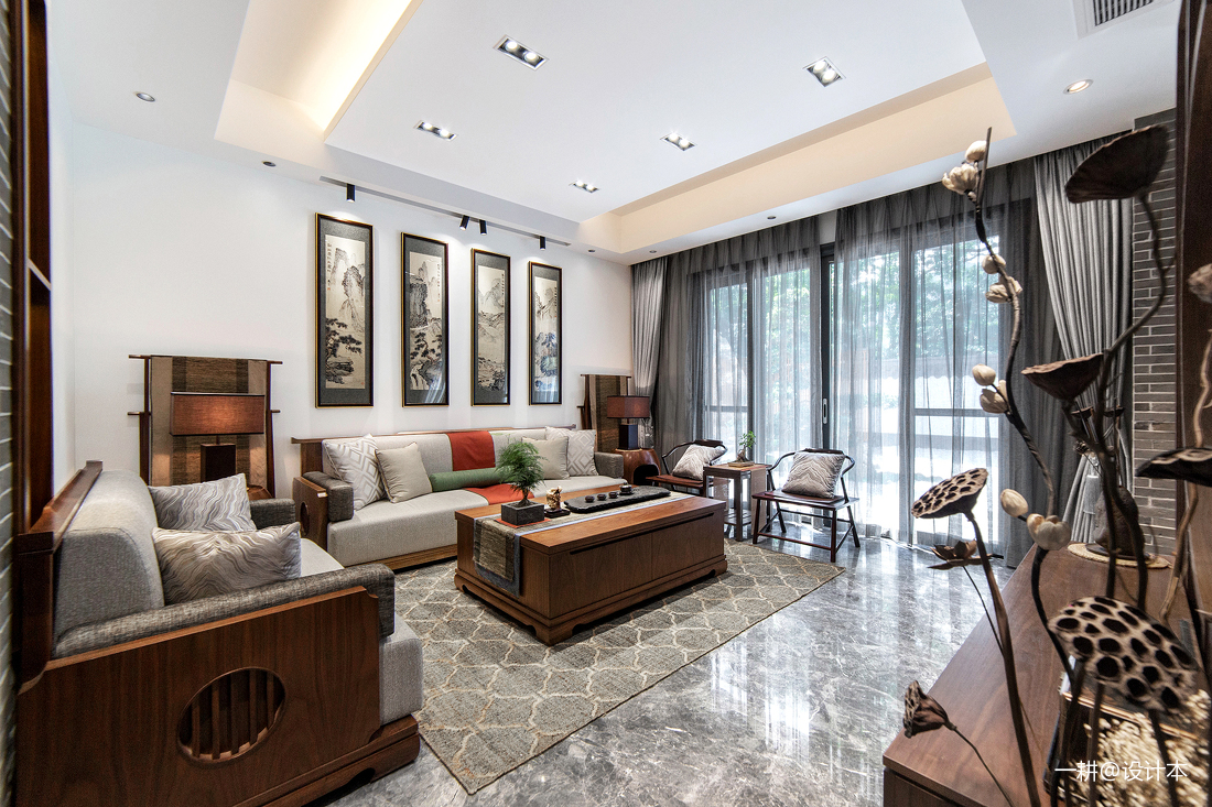 简洁400平中式别墅客厅设计案例