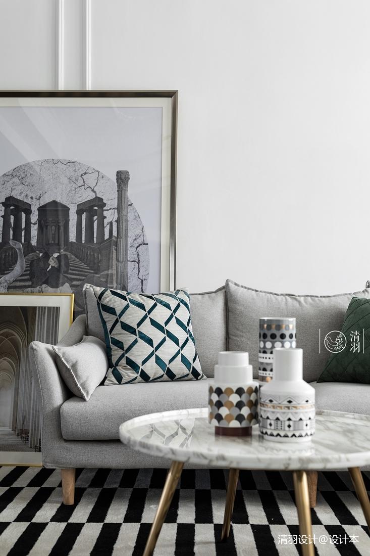 明亮25平法式小戶型客廳裝修裝飾圖
