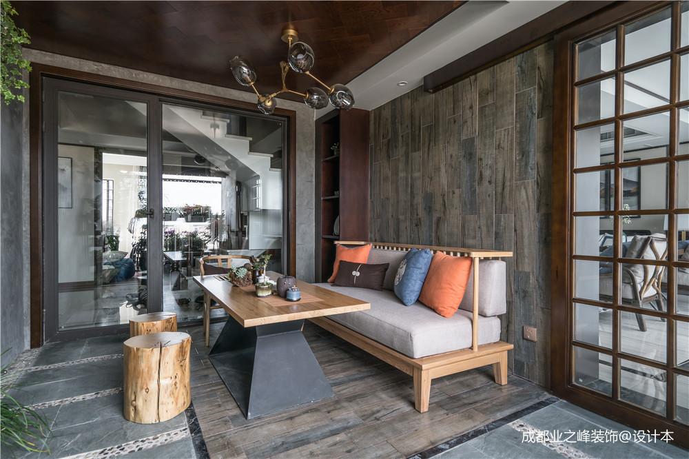 简洁273平中式别墅休闲区装修设计图