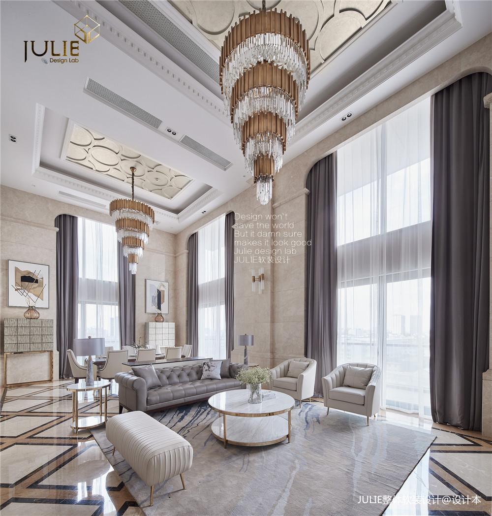 精致400平美式复式客厅效果图片大全