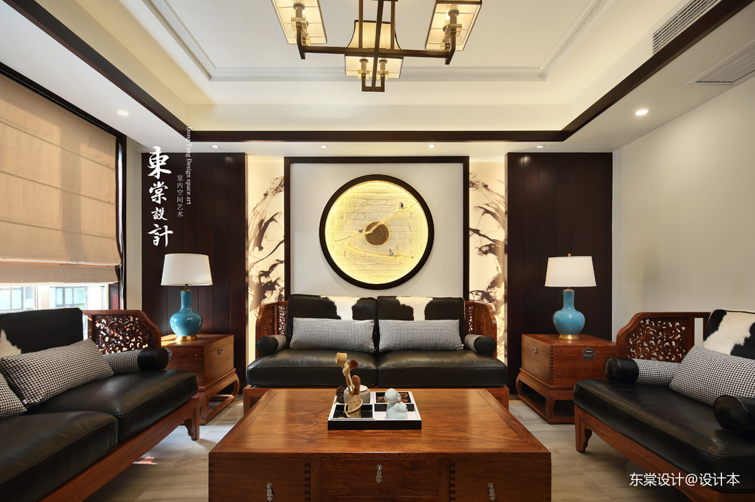 輕奢60平中式復式客廳圖片大全