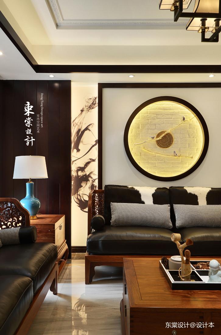 大气84平中式复式客厅装修案例
