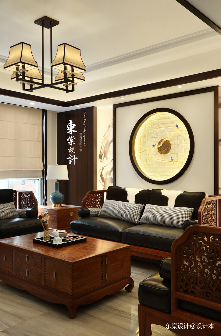 優美81平中式復式客廳裝飾圖片