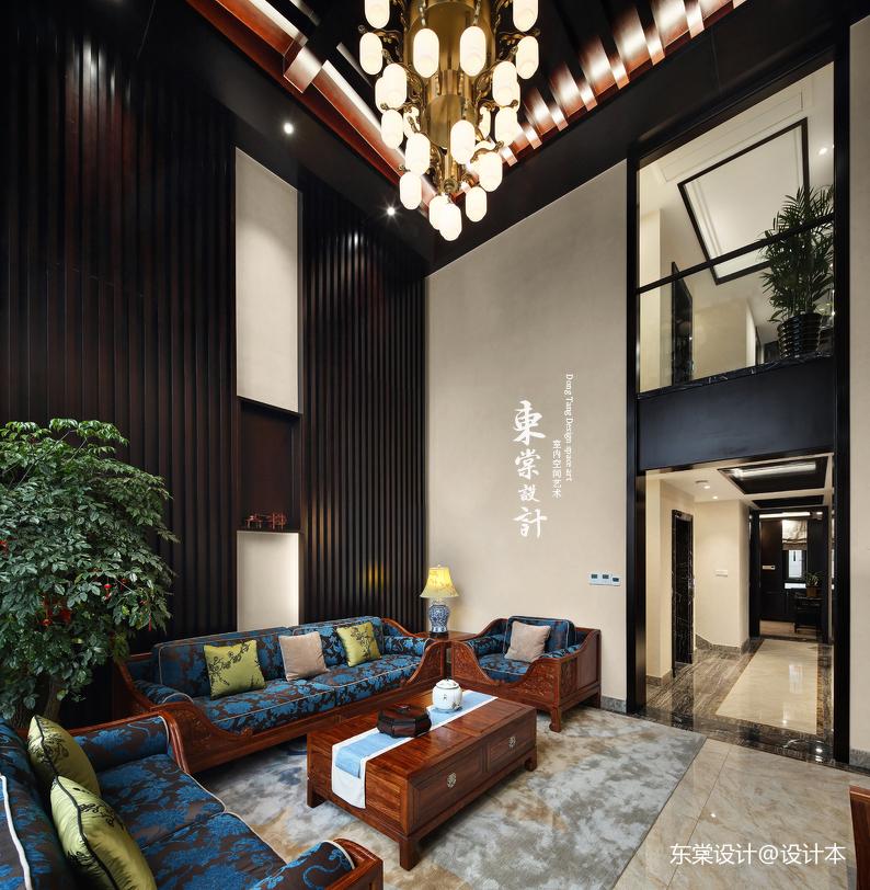 質樸355平中式別墅客廳設計圖