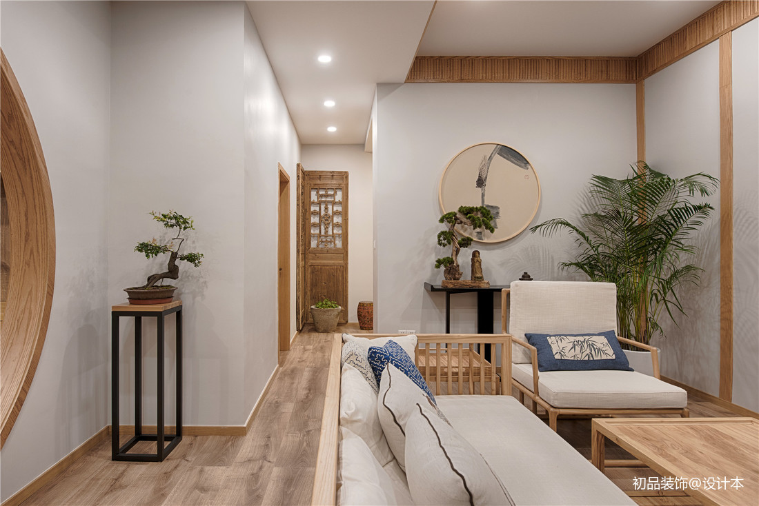 溫馨78平中式復式客廳效果圖片大全