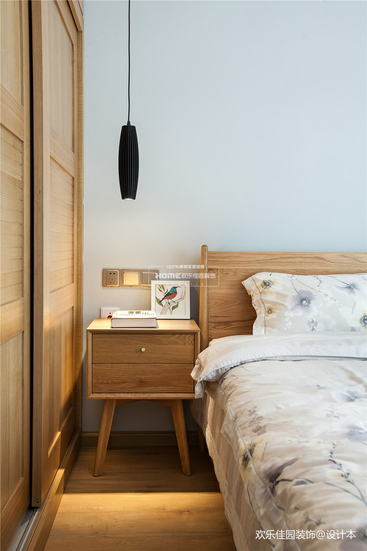 精美107平北欧三居卧室装修设计图