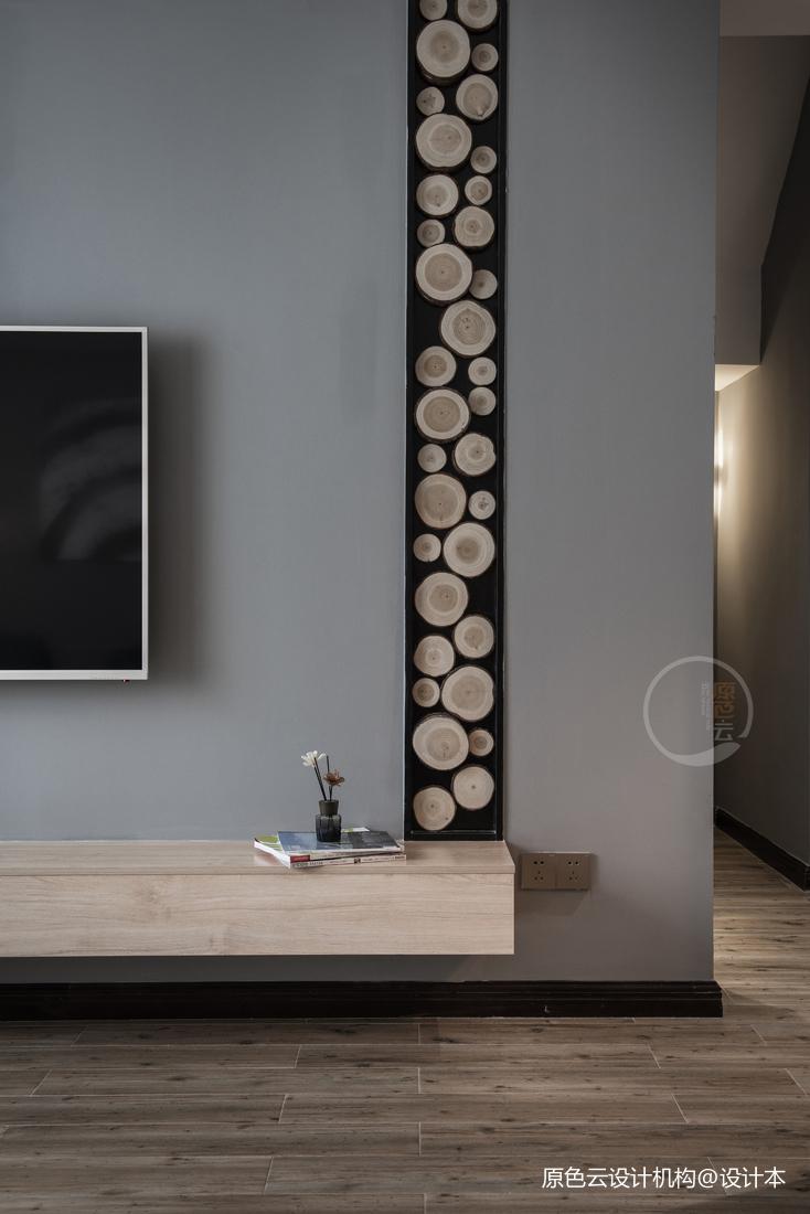康城簡約風躍層三居電視背景墻設計圖