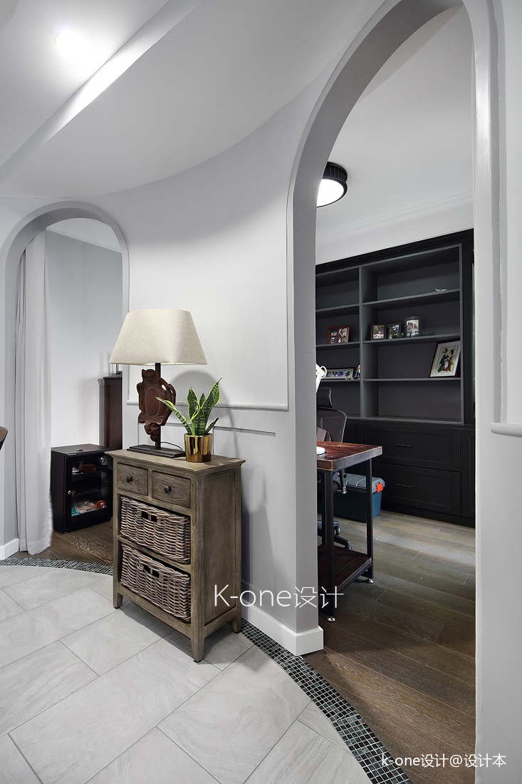 浪漫90平美式二居书房装修图