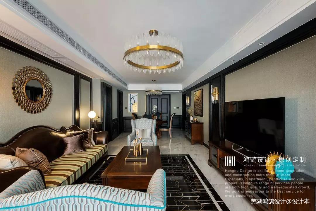 优雅85平美式三居客厅图片大全