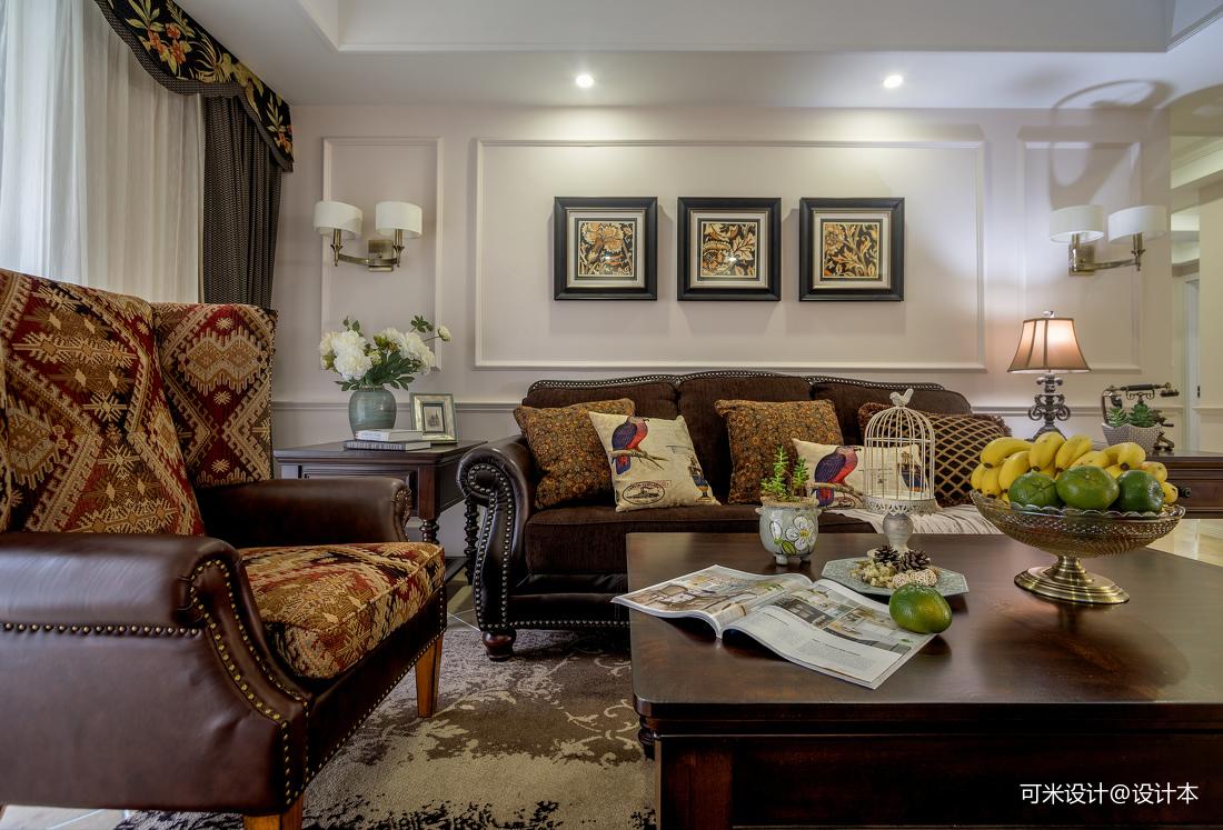 优雅107平美式四居客厅效果图欣赏