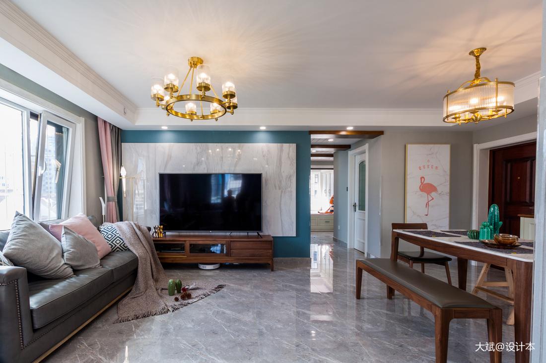 温馨130平美式三居客厅实拍图
