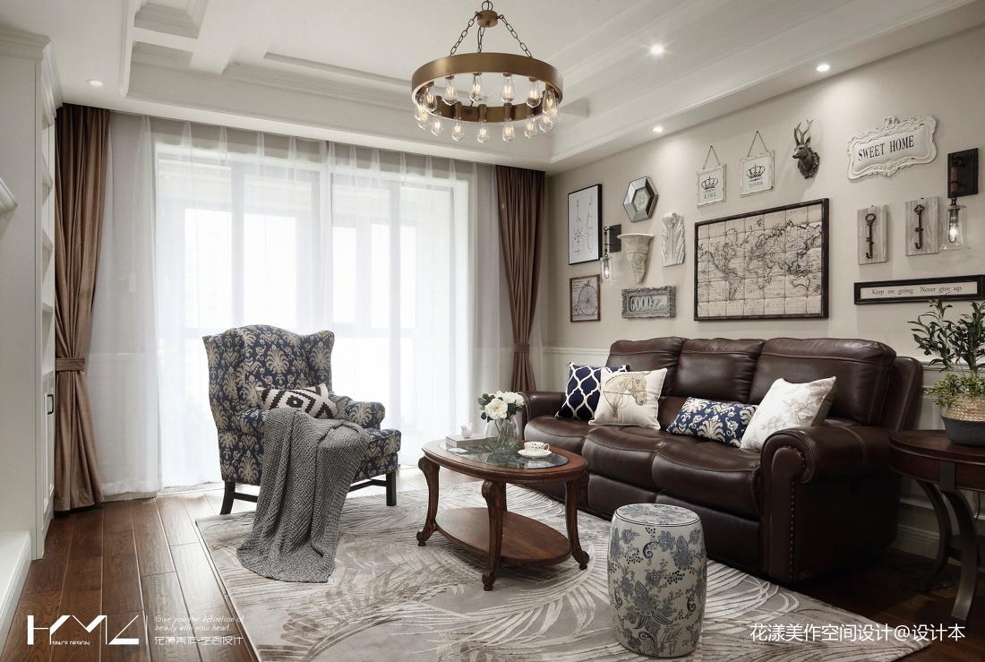 温馨129平美式三居客厅装潢图