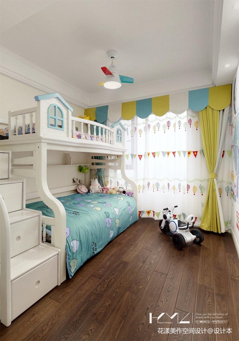 简洁106平美式三居儿童房布置图