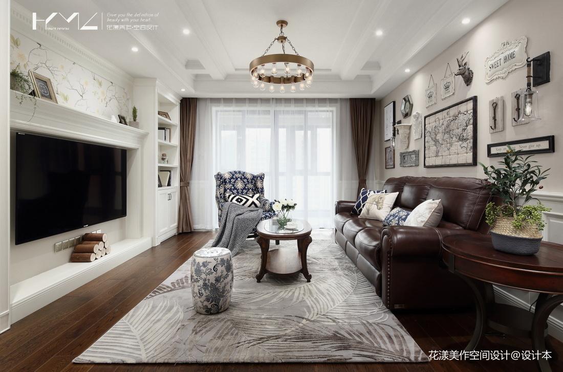 温馨140平美式三居客厅实拍图
