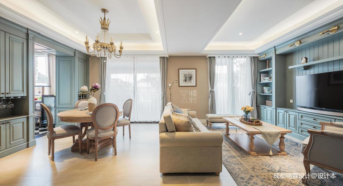 优雅66平法式二居客厅装饰图