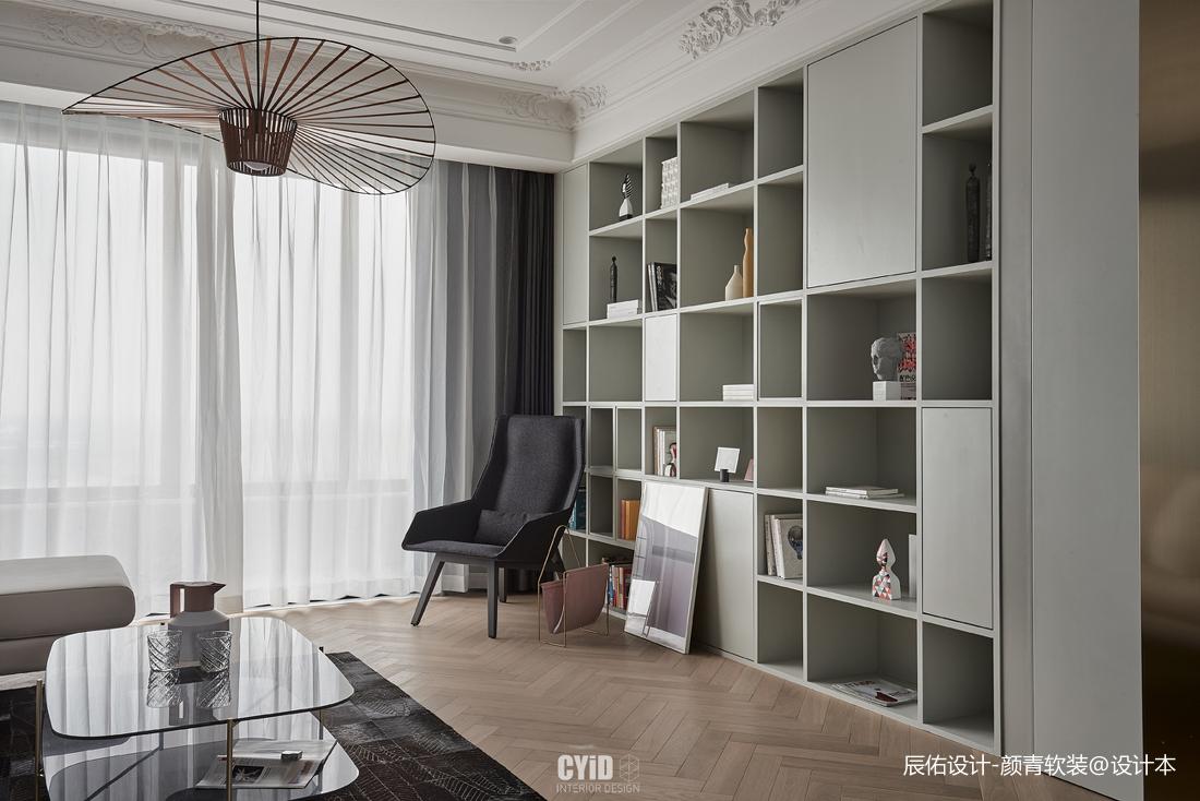 现代法式客厅储物柜设计