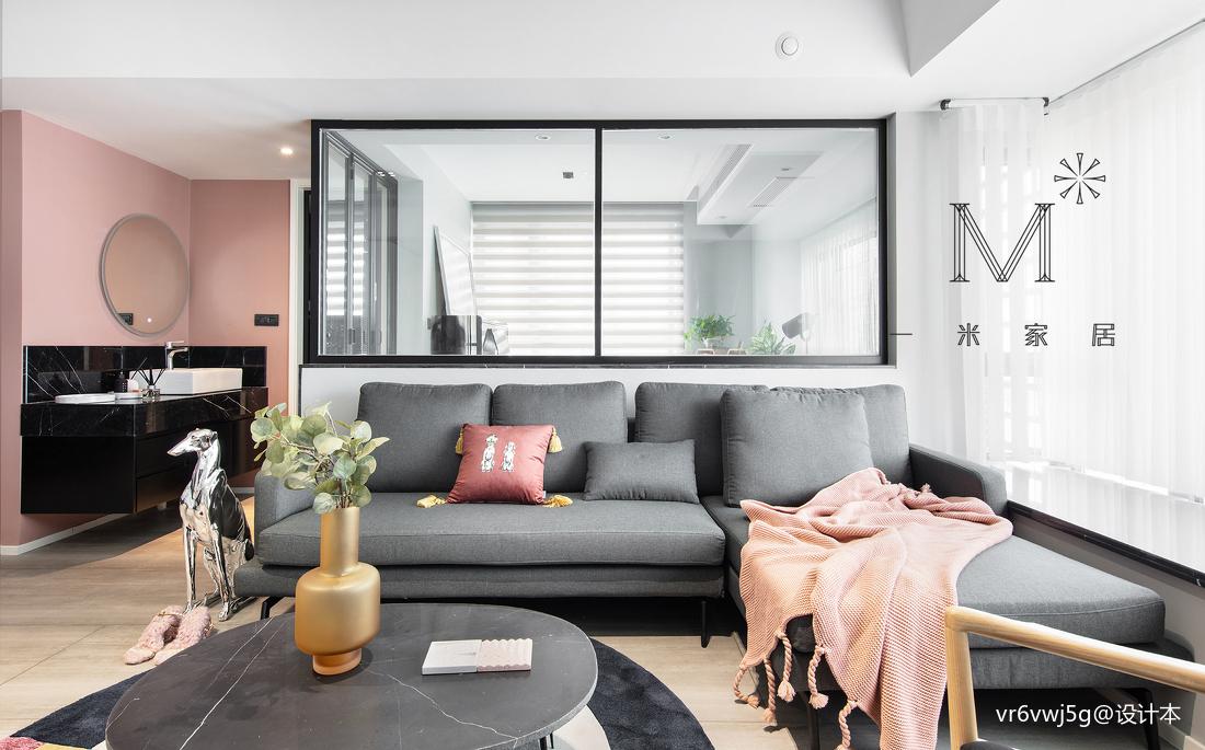 201954平现代二居客厅布置图