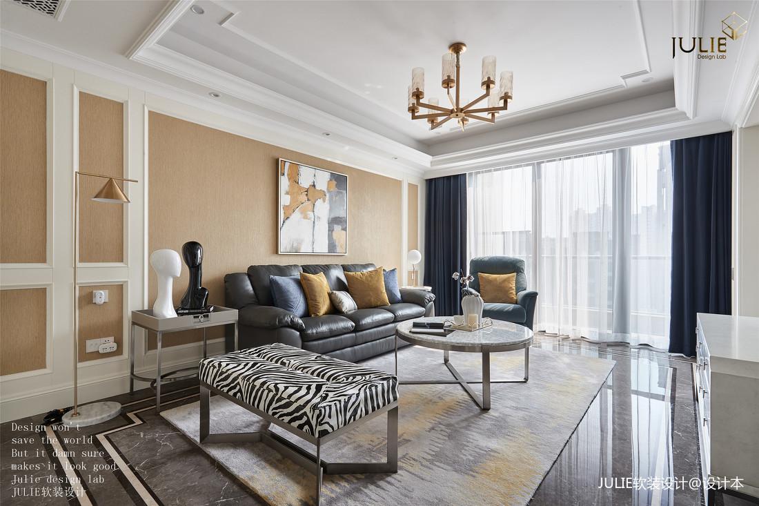 华丽99平美式四居客厅设计图