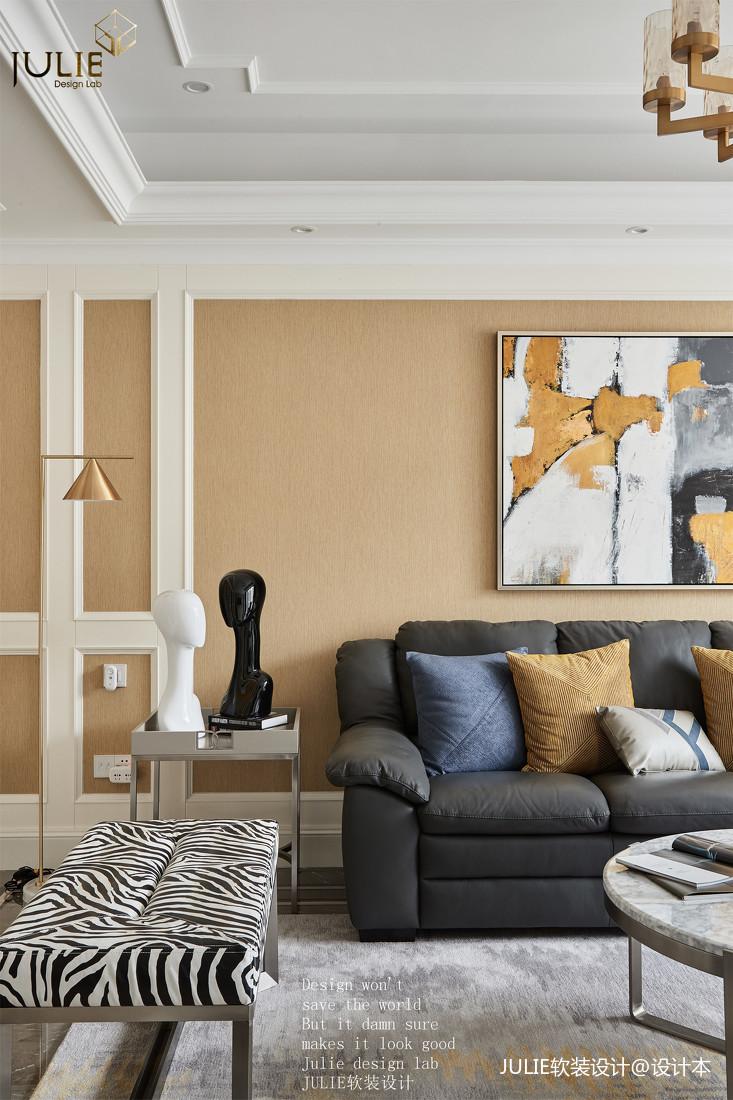 悠雅145平美式四居客厅设计图