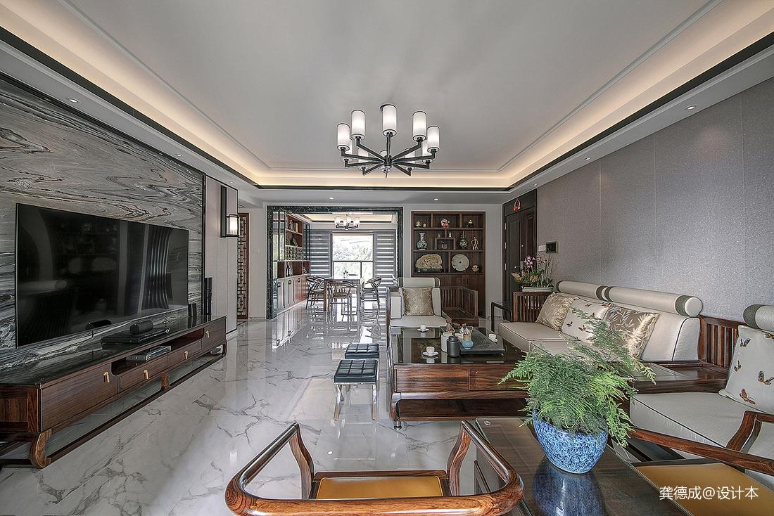 简洁200平中式别墅客厅设计案例