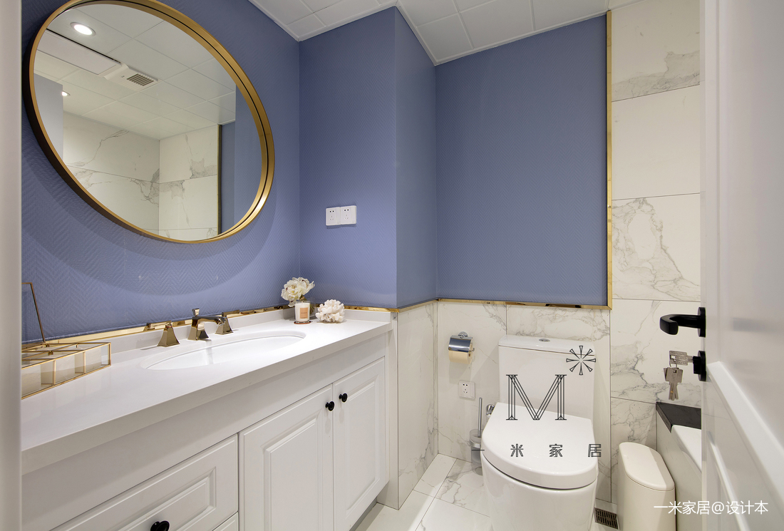 简洁56平美式二居卫生间装潢图