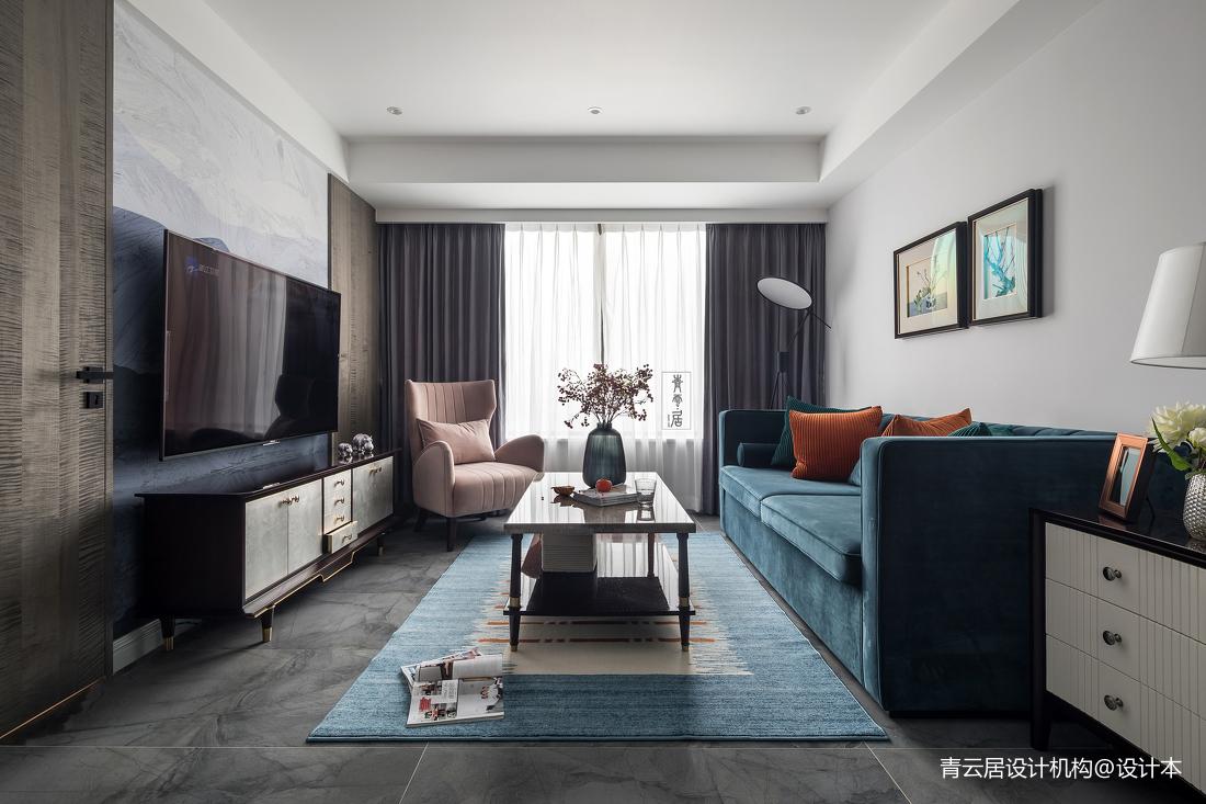 轻奢128平美式三居客厅装饰美图