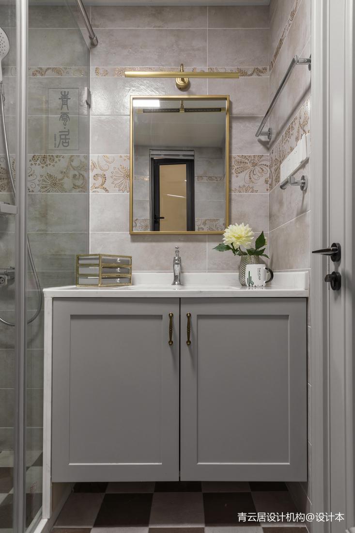 轻奢125平美式三居卫生间装饰图
