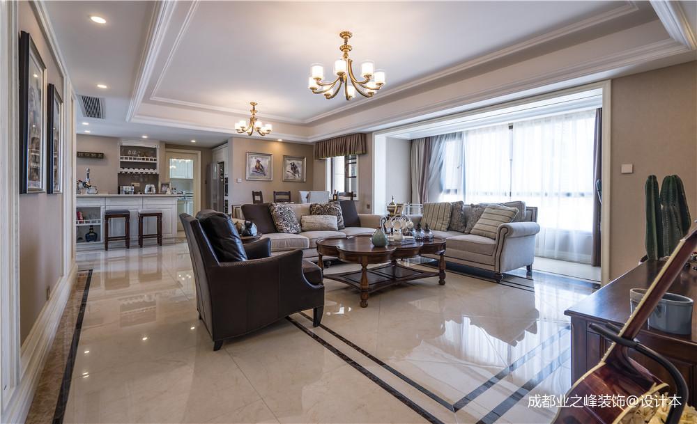 温馨129平美式三居客厅实景图片