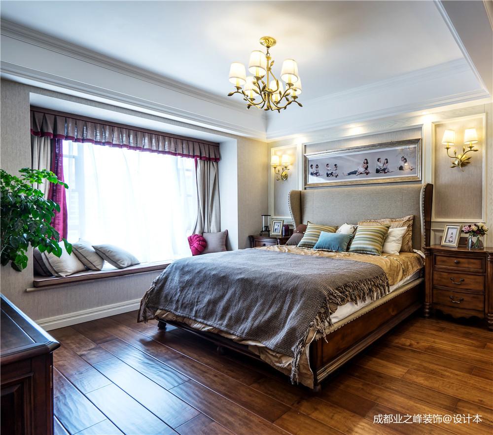 优雅128平美式三居卧室案例图