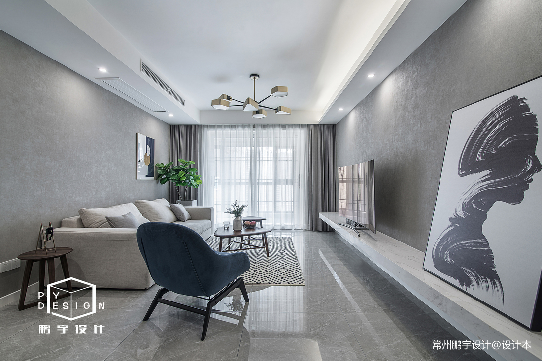浪漫70平北欧三居客厅装修案例