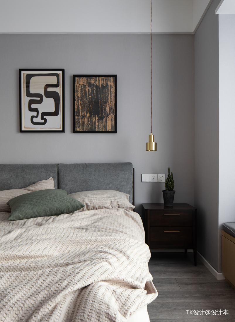 轻奢85平简约二居卧室实景图片