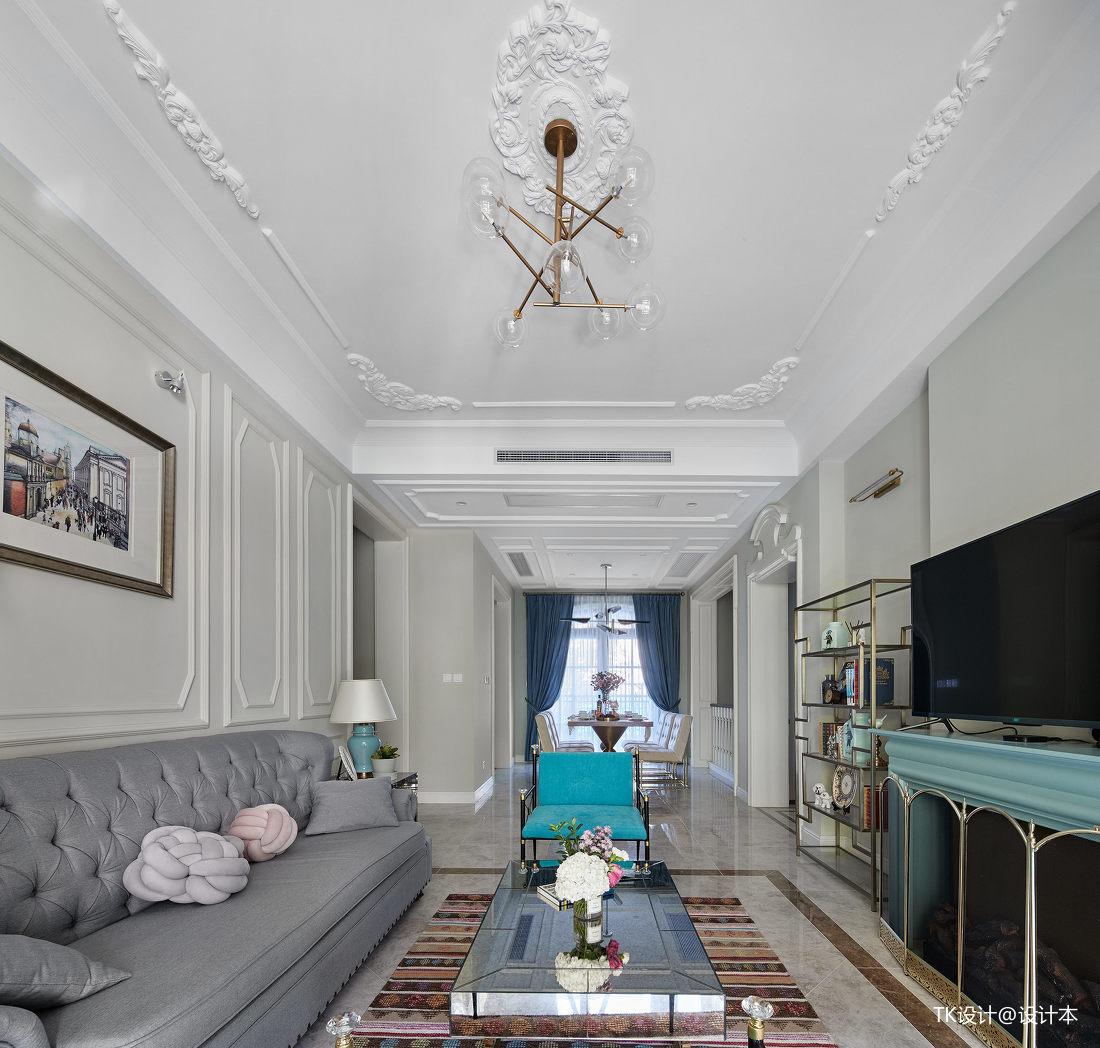 简洁77平法式复式客厅设计效果图