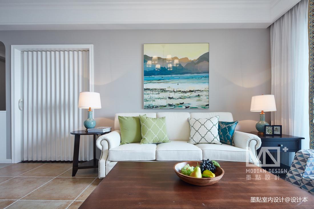 优美113平美式四居客厅装饰图