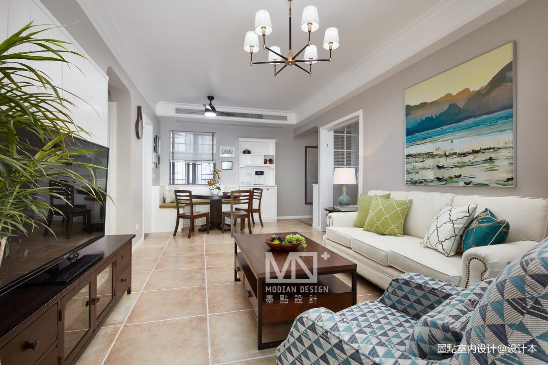 悠雅100平美式四居客厅装修图片
