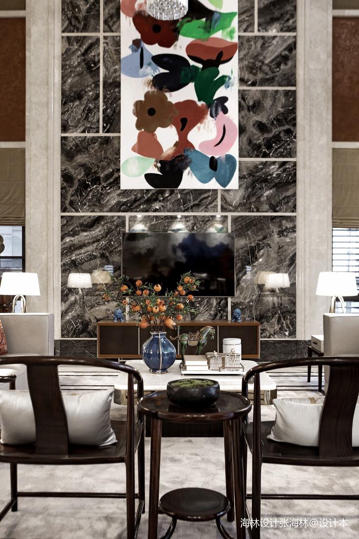优美808平中式别墅客厅布置图