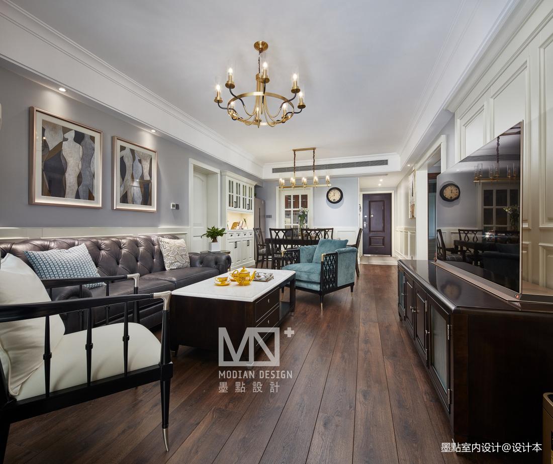 温馨128平美式三居客厅装修图片