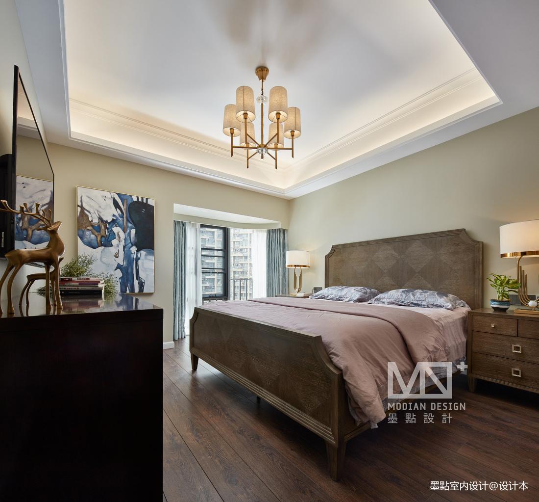 轻奢113平美式三居卧室设计美图