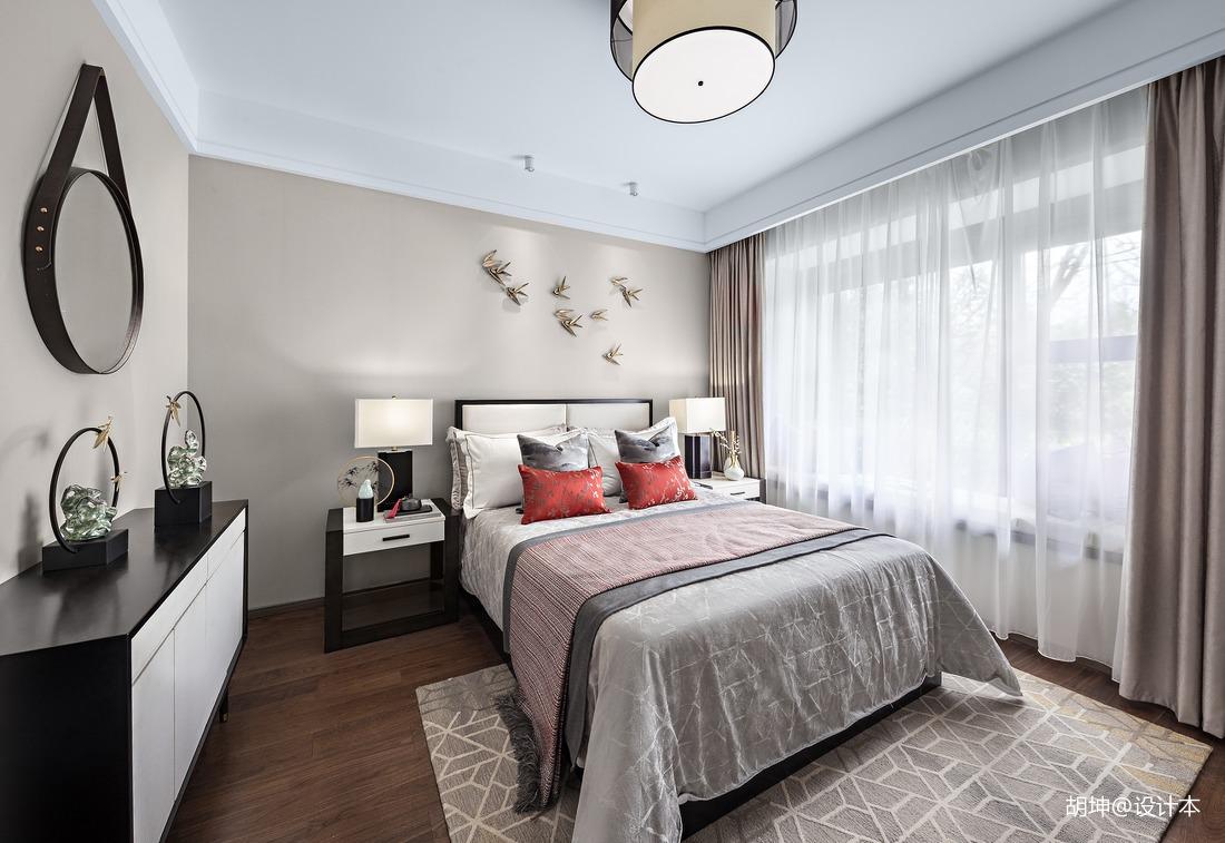 轻奢345平中式样板间卧室装修图