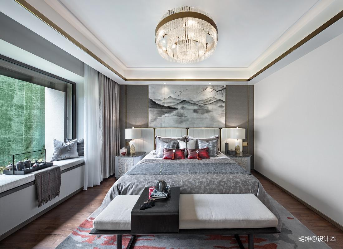 大气303平中式样板间卧室设计案例