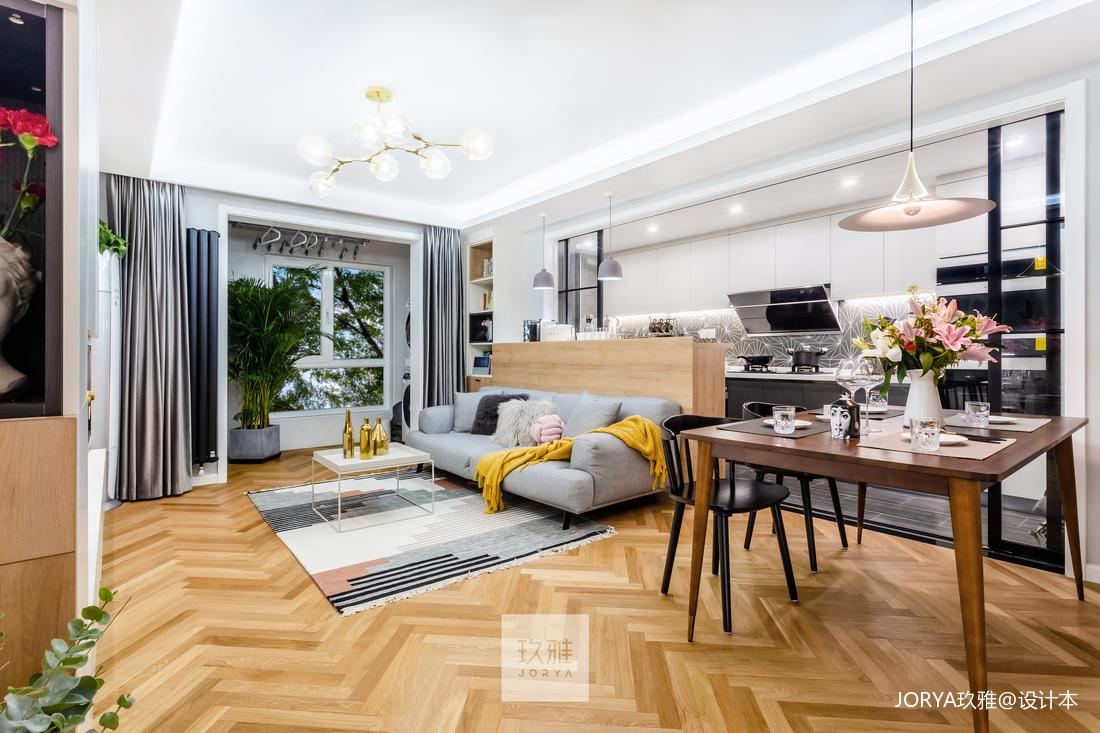 优雅84平简约二居客厅装修设计图