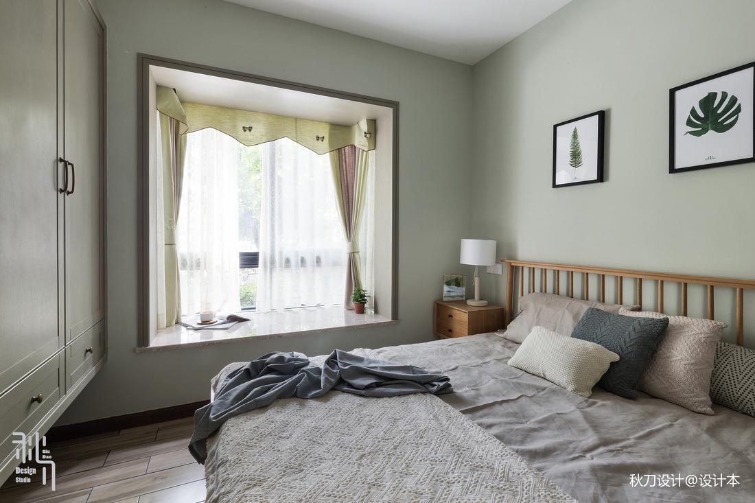 淺灰藍北歐風臥室飄窗設計圖