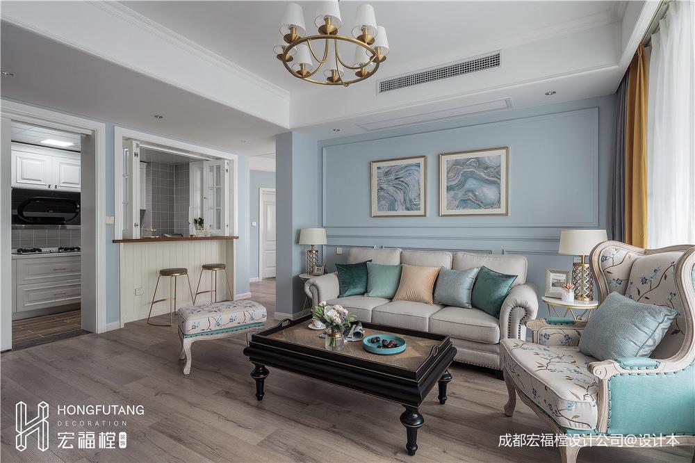 大气94平美式三居客厅装修设计图