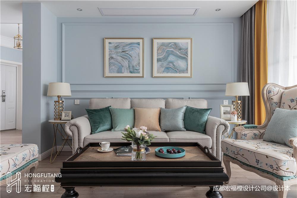 简洁79平美式三居客厅实景图片