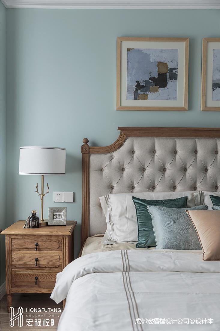 简洁91平美式三居卧室设计效果图