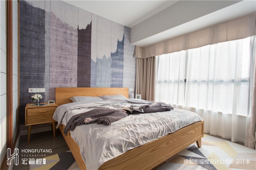 简约北欧主卧室设计实景图
