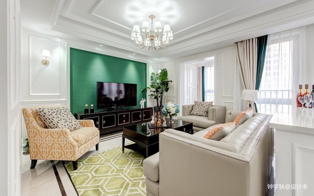2019130平美式三居客厅装修效果图