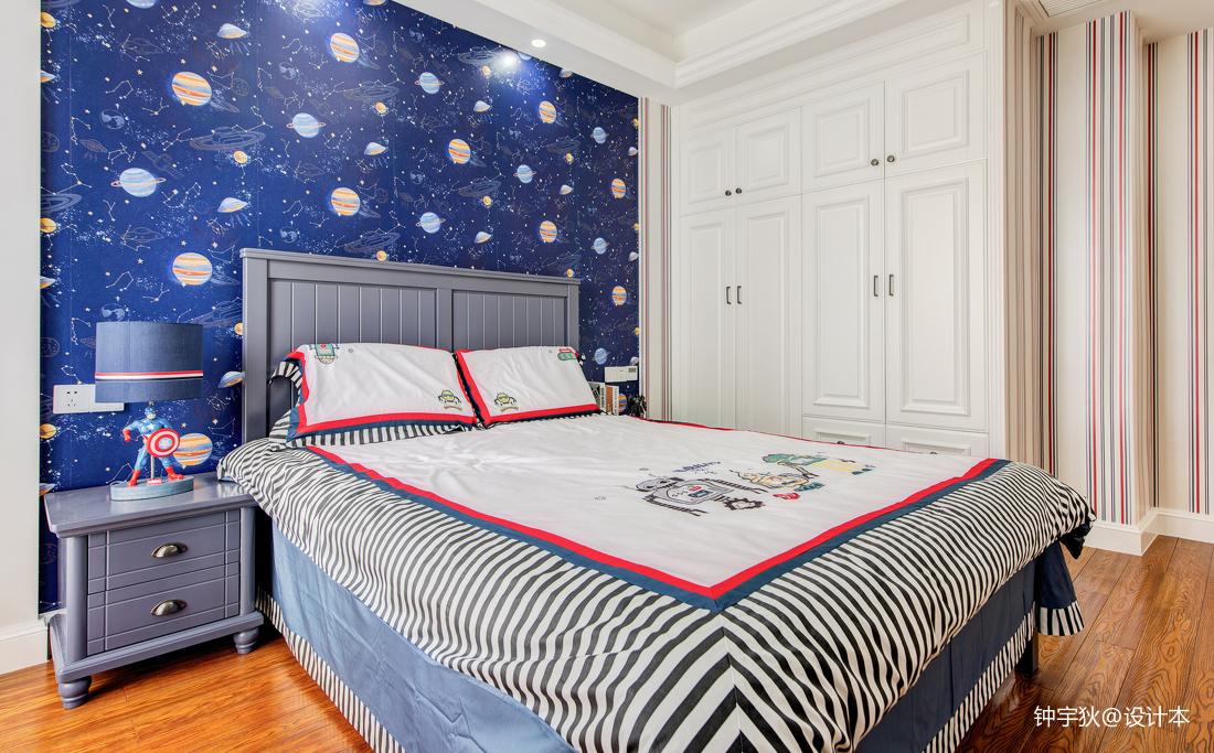 温馨89平美式三居儿童房图片大全